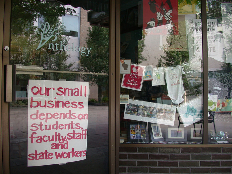Window signs of protest and support