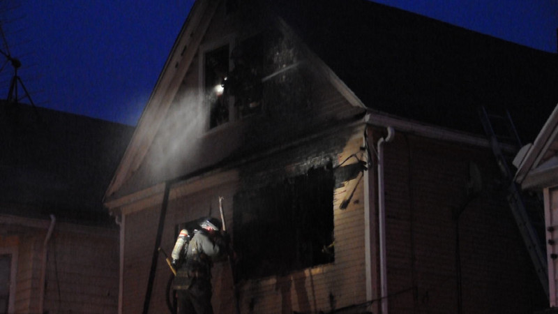 Video of crews overhauling the fire
