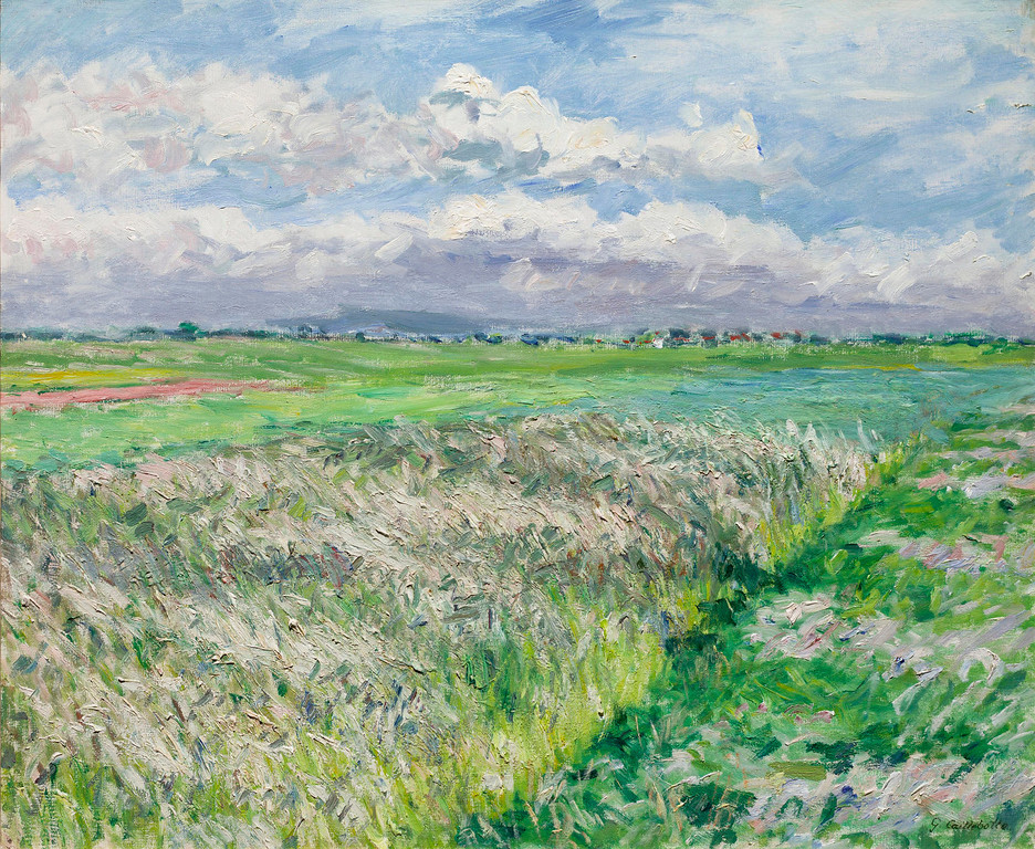 ". Gustave Caillebotte, \""Les Champs, Plaine de Gennevilliers,\"" 1884, oil on canvas, 21.25x25.5\"" (Image provided by the Denver Art Museum)"
