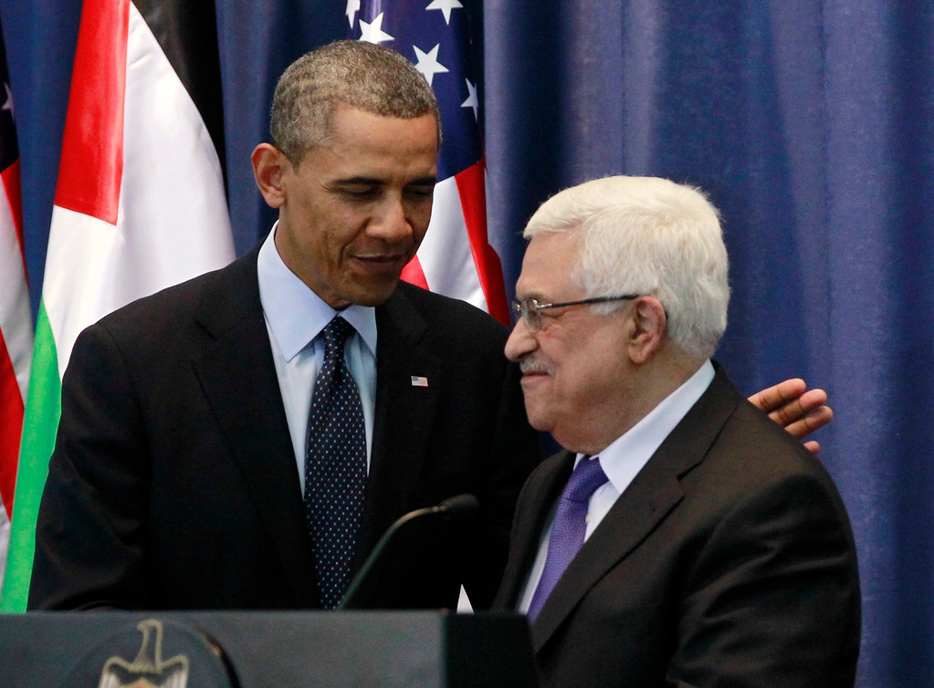 . U.S. President Barack Obama participates in a joint news conference with Palestinian President Mahmoud Abbas at the Muqata Presidential Compound in Ramallah, March 21, 2013.   REUTERS/Jason Reed