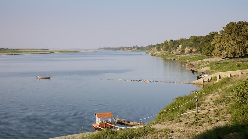 Irrawaddy River or Ayeyarwady River in Bagan, Burma (Myanmar) from Bupaya pagoda