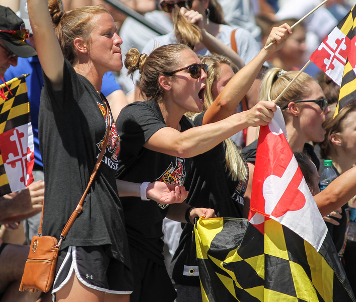 May 26, 2019: Maryland alumni Taylor Cummings cheers on her lady terps during NCAA Womens Lacrosse Championship matchup between Boston College and University of Maryland in Baltimore. Photos by Chris Thompkins/Prince Georges Sentinel