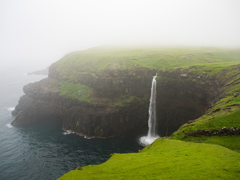 One of the most photographed waterfalls on Instagram, Mulafossur. The water falls straight into the sea. Unfortunately on the day I visited there was thick fog and heavy rain, so it's a terrible picture!