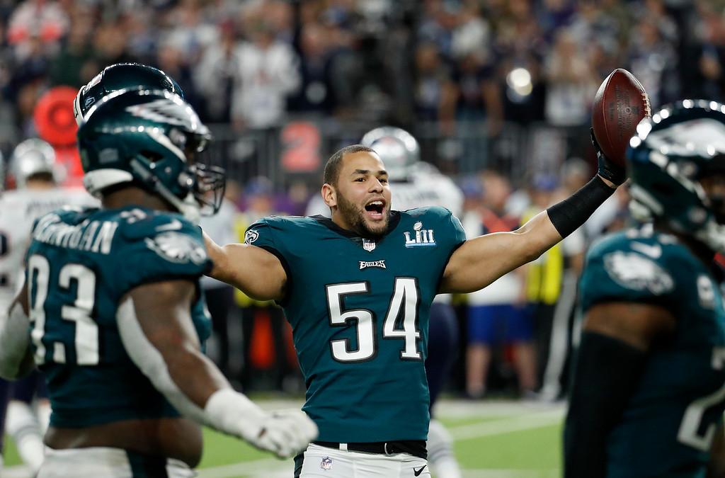 . Philadelphia Eagles\' Kamu Grugier-Hill celebrates during the second half of the NFL Super Bowl 52 football game against the New England Patriots, Sunday, Feb. 4, 2018, in Minneapolis. (AP Photo/Matt York)