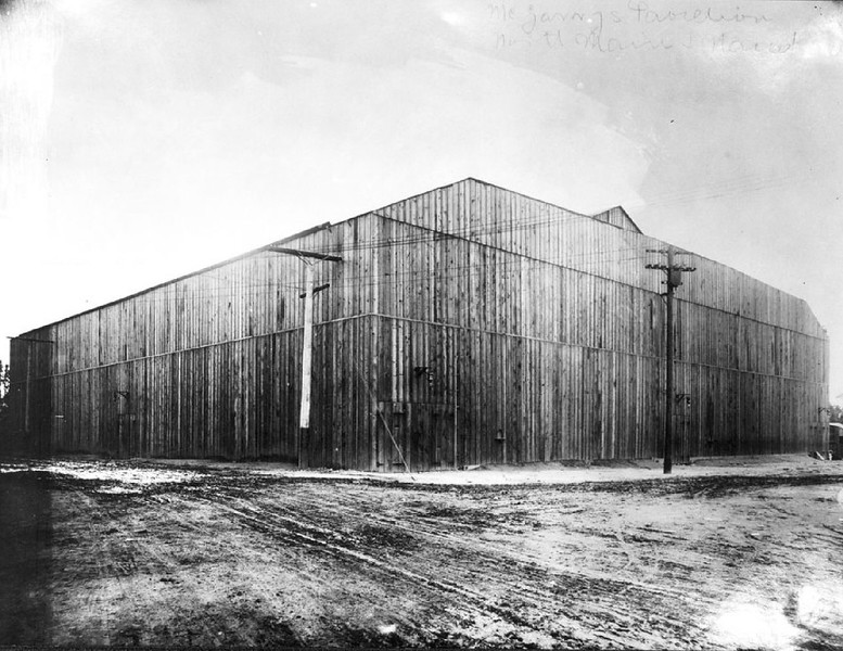 Exterior view of Naud Junction Arena used for boxing, ca.1910