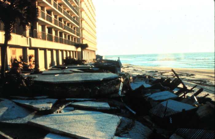 . Exterior damage to the Holiday Inn at Myrtle Beach, South Carolina After passage of Hurricane Hugo, 1989. National Hurricane Center. NOAA\'s National Weather Service (NWS) Collection