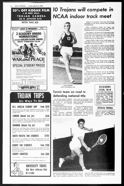 Daily Trojan, Vol. 60, No. 90, March 14, 1969