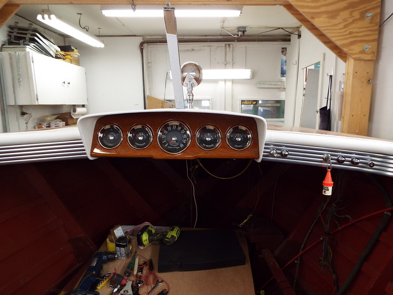 View of the instruments mounted in the new wood instrument panel.