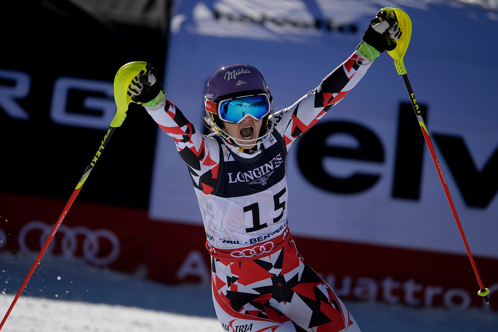 . BEAVER CREEK, CO - FEBRUARY 09: Michaela Kirchgasser reacts to her third place finish during the ladies\' alpine combined final. FIS Alpine World Ski Championships 2015 on Monday, February 9, 2015. (Photo by AAron Ontiveroz/The Denver Post)
