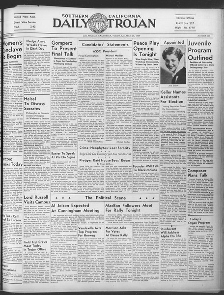 Daily Trojan, Vol. 30, No. 107, March 28, 1939