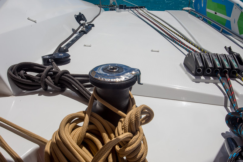 The second winch is a manual winch.  It has the black jib line which does not pass through any clutch so it is sometimes annoying to not be able to use it because it is holding the jib in place.  The solution is to add a clutch.