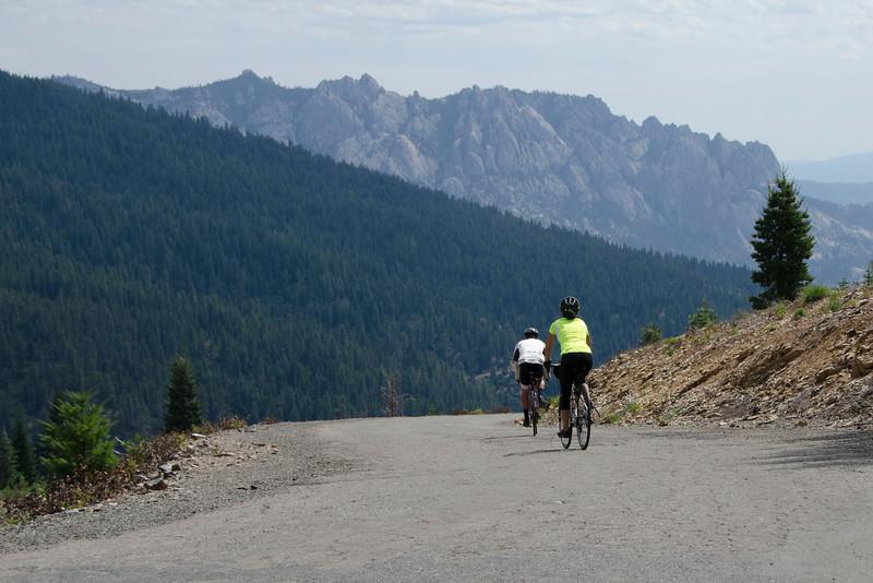 Mark and Maria Tebbutt descending past Castle Crags