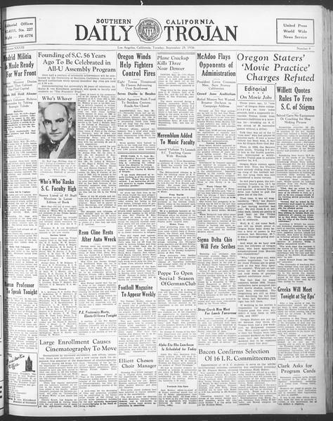 Daily Trojan, Vol. 28, No. 8, September 29, 1936