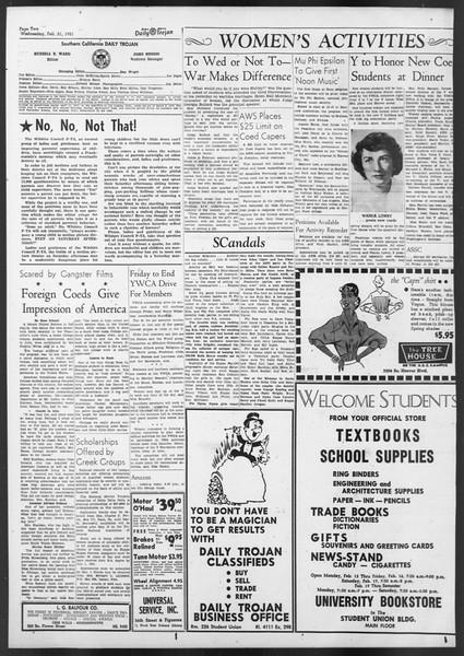 Daily Trojan, Vol. 42, No. 76, February 21, 1951