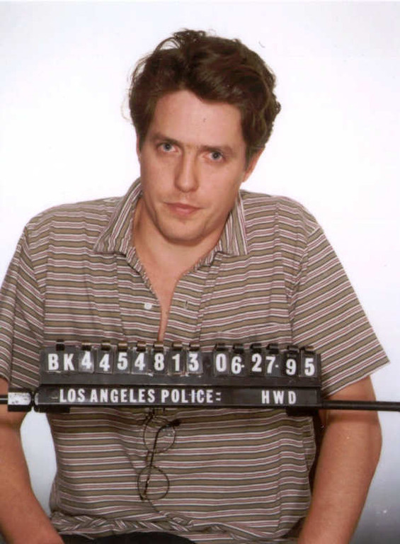 . This is a Los Angeles police booking photo of British actor Hugh Grant who was arrested Tuesday June 27, 1995 by Hollywood vice officers and charged with lewd conduct involving a prostitute. (AP Photo/ho)