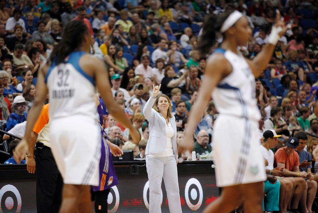 . Minnesota Lynx coach Cheryl Reeve calls out a play to her team during a WNBA basketball game against the Phoenix Mercury in the second half Sunday, July 7, 2013, at Target Center. (AP Photo/Stacy Bengs)