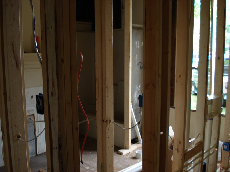 Studs put in place for new interior walls. ck