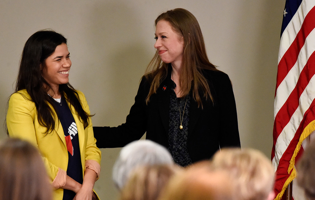 . DENVER, CO - FEBRUARY 18: Chelsea Clinton smiles as actress America Ferrera is introduced to supporters. Chelsea and America are campaigning for Hillary Clinton in Denver February 18, 2016 at the Anderson Academic Commons. Chelsea and America spoke to about 100 supporters.  (Photo By John Leyba/The Denver Post)