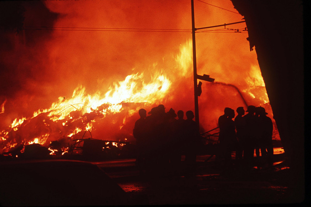 . In this file photo taken Oct. 17, 1989 firefighters  battle a blaze in the Marina District of San Francisco after an earthquake.   (AP Photo, file)