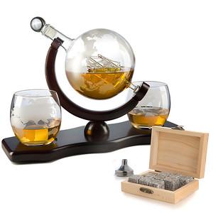World decanter w/ 2 glasses