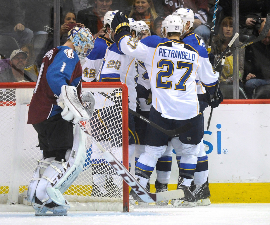 . St. Louis center David Backes celebrated a first period with teammates Wednesday night. The Colorado Avalanche hosted the St. Louis Blues at the Pepsi Center Wednesday night, November 27, 2013.  Photo By Karl Gehring/The Denver Post