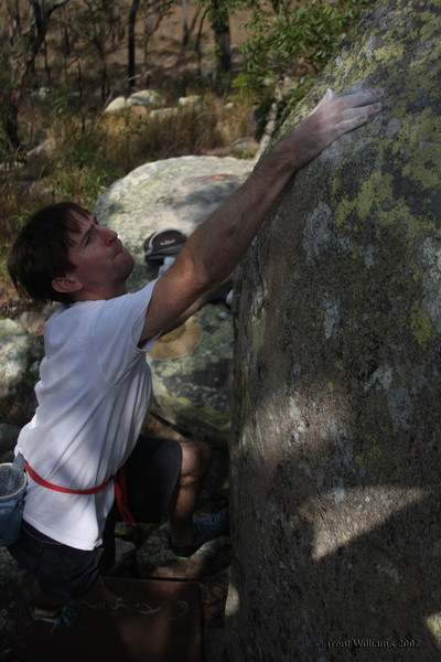 """Seve Baskerville on an """"easy"""" V6. Launch Pad, Harveys Marbles. Photo by Trent Williams"""