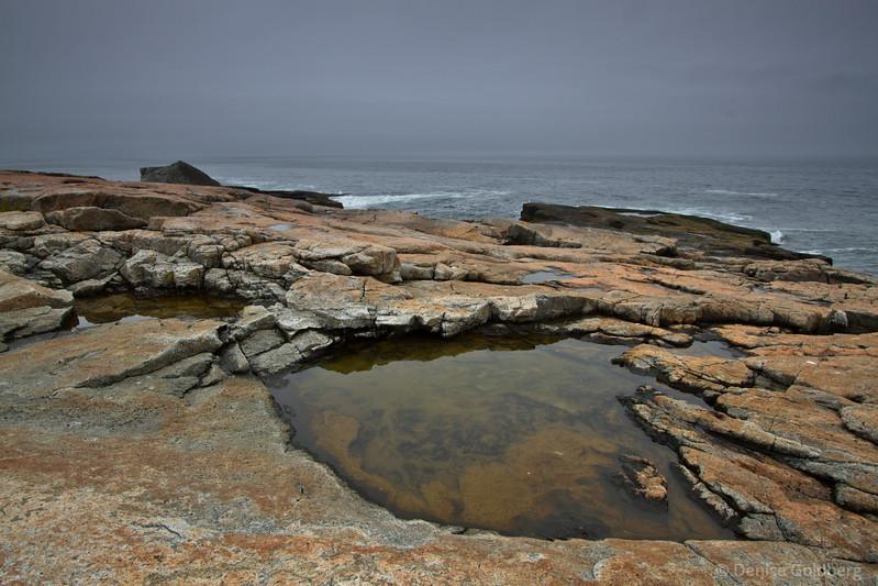 Pools of water, rocks, ocean, at the tip of the Schoodic Peninsula, Acadia National Park, Maine