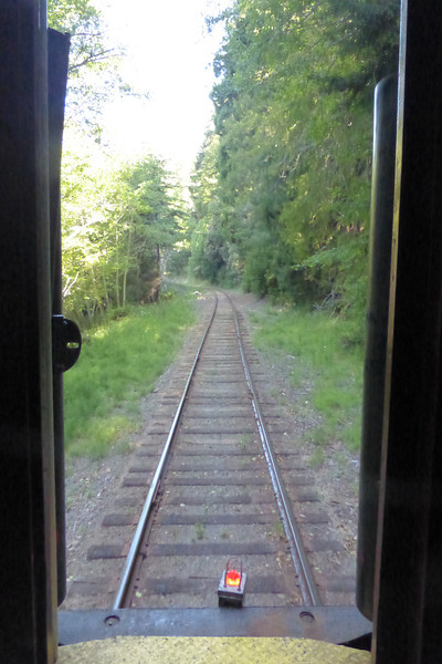A view looking out the back of the train.