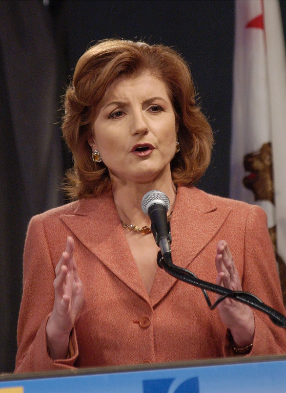 . LOS ANGELES - OCTOBER 2:  Former California gubernatorial candidate Arianna Huffington makes a speech opposing the recall during the gubernatorial recall debate at the Simon Weisenthal Center Museum of Tolerance on October 2, 2003 in Los Angeles, California. Latest polls show voters favor recalling California Gov.Davis and replacing him with actor Arnold Schwarzenegger in the October 7 special election. (Photo by Reed Saxon-Pool/Getty Images)