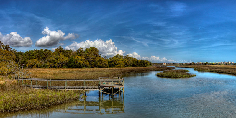 Panorama view of a boat dock on a marsh in Litchfield Beach, SC on Friday, March 23, 2012. Copyright 2012 Jason Barnette