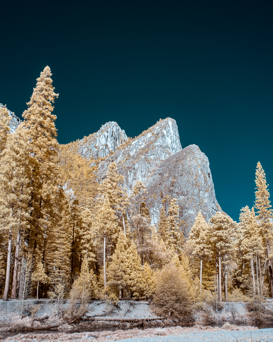 Three Brothers, Yosemite National Park in 590nm infrared