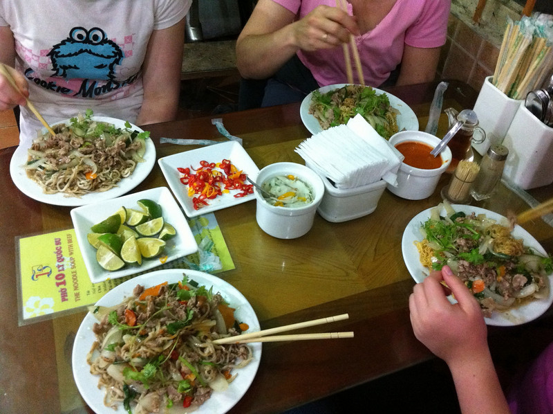 Pho 10, first restaurant meal in Hanoi. Cost: about $8 altogether.