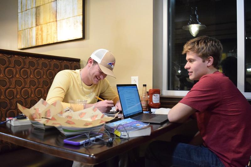 Drew Boyd and Garrett Blanton studying in WOW