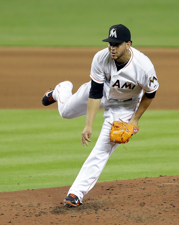 . Miami Marlins\' Henderson Alvarez pitches against the Detroit Tigers in the fifth inning of an interleague baseball game on Sunday, Sept. 29, 2013, in Miami. Alvarez pitched a no-hitter as the Marlins won 1-0. (AP Photo/Alan Diaz)