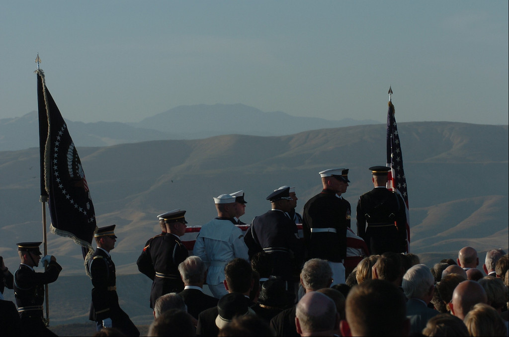 . 6/11/04--Simi Valley-- Military Honor Guard carries the body of the President during funeral services for the 40th President at the Ronald Reagan Library in Simi Valley, Ca, Friday, June 11th, 2004.   (Los Angeles Daily News file photo)