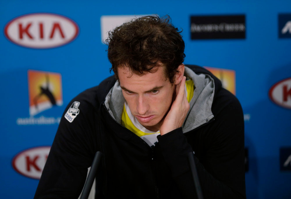 . Britain\'s Andy Murray listens to a question in a press conference after his loss to Serbia\'s Novak Djokovic in the men\'s final at the Australian Open tennis championship in Melbourne, Australia, Monday, Jan. 28, 2013. (AP Photo/Andy Wong)