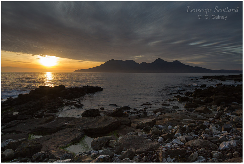 Sunset over Rhum, from Laig Bay
