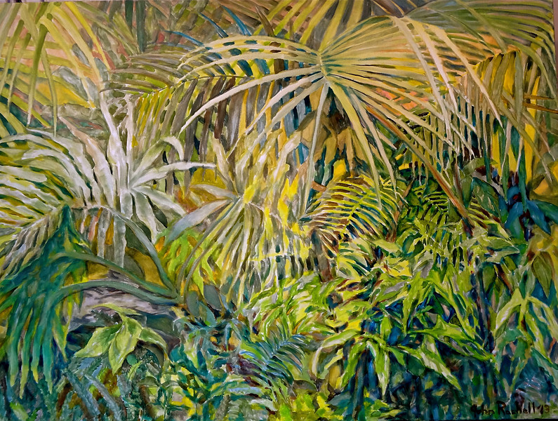 """© 2013 John Rachell Title: Garden, May 10, 2013 Image Size: 40"""" W by 30"""" D Dated: May 10, 2013 Medium and Support: Oil paint on canvas Signed: LR Signature"""
