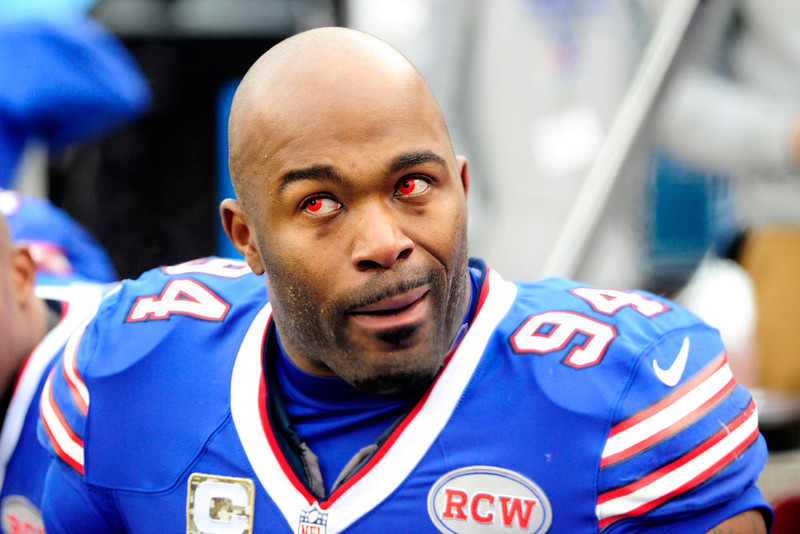 . Buffalo Bills defensive end Mario Williams wears red contacts during the first half of an NFL football game against the Kansas City Chiefs, Sunday, Nov. 9, 2014, in Orchard Park, N.Y. (AP Photo/Gary Wiepert)