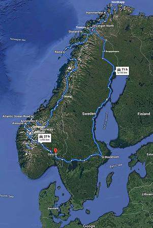 Norway Trip Map