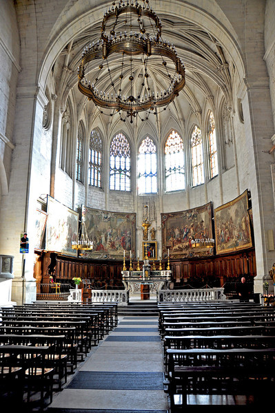 Soaring Architecture inside St. Vincent Cathedral, Viviers, France.