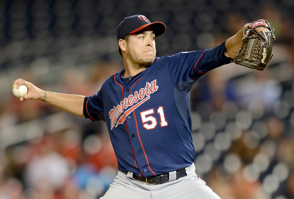. Minnesota Twins relief pitcher Anthony Swarzak (51) works against the Washington Nationals in the sixth inning of the second game of a day-night doubleheader at Nationals Park. (Chuck Myers/MCT)