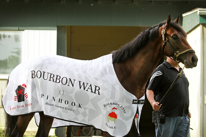 Bourbon War (Tapit) trains for the Belmont Stakes (Gr I) at Belmont Park 6/7/19. Trainer: Mark Hennig. Owner: Bourbon Lane Stable & Lake Star Stable