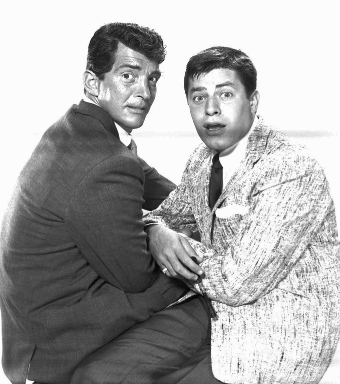 """. Dean Martin, left, and Jerry Lewis meet in September 1955 in Hollywood to make arrangements for the beginning of rehearsals for the \""""Colgate Variety Hour.\""""  (AP Photo)"""