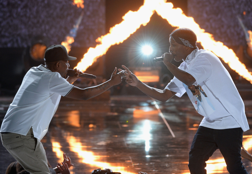 Description of . Recording artists Kendrick Lamar and A$AP Rocky perform onstage during the 2013 BET Awards at Nokia Theatre L.A. Live on June 30, 2013 in Los Angeles, California.  (Photo by Mark Davis/Getty Images for BET)