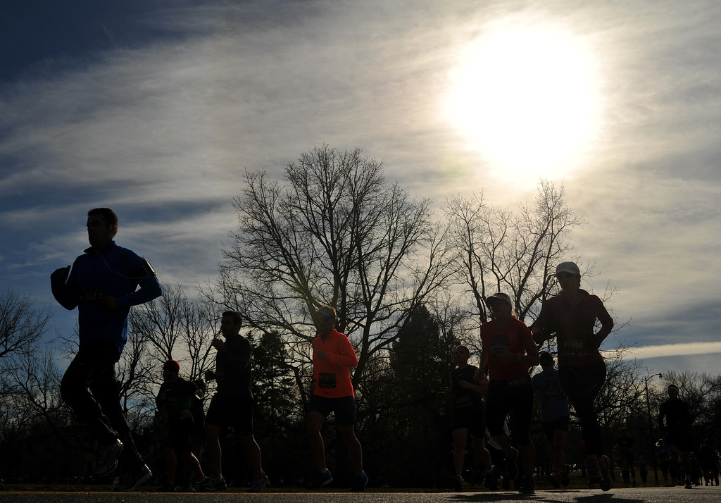. Runners in the 40th Annual Turkey Trot in Washington Park in Denver, Colorado on November 28, 2013. Denver\'s largest Thanksgiving Day run benefits United Way and goes for 4 miles. (Photo by Hyoung Chang/The Denver Post)