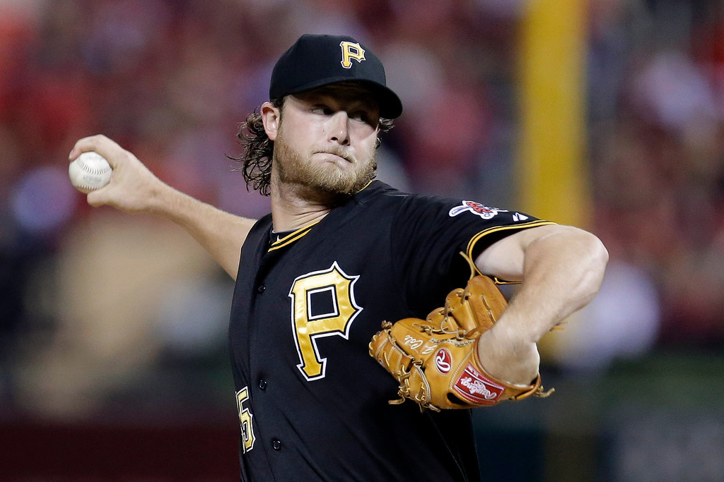 . Pittsburgh Pirates starter Gerrit Cole pitches against the St. Louis Cardinals in the first inning of Game 5 of a National League baseball division series, Wednesday, Oct. 9, 2013, in St. Louis. (AP Photo/Charlie Riedel)