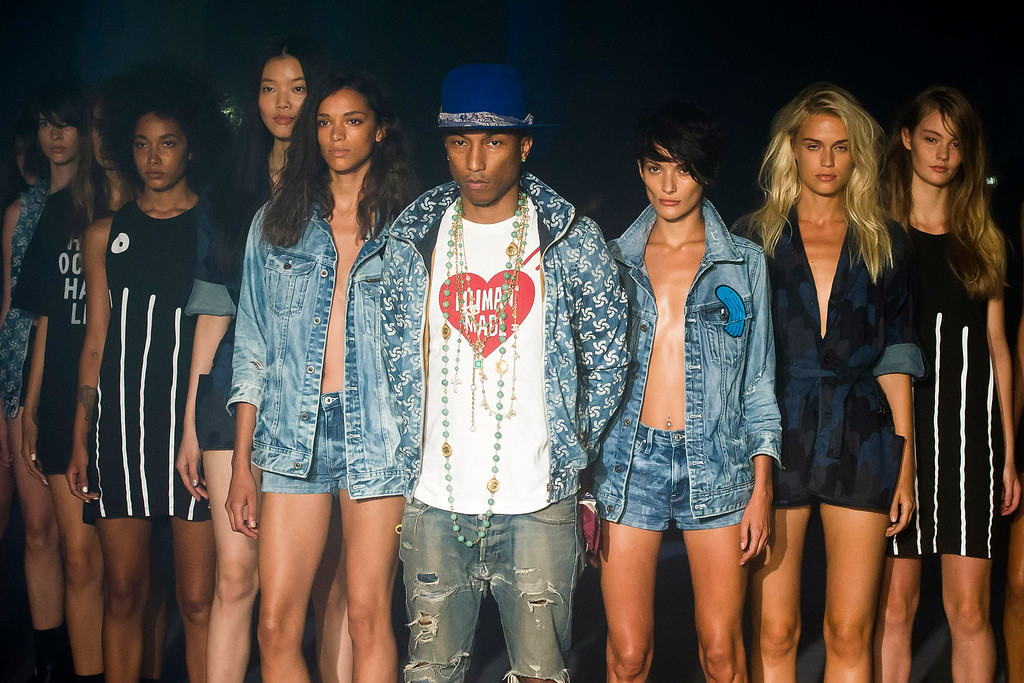 . Pharrell Williams reveals the Raw for the Oceans Spring/Summer 2015 collection presented by G-Star RAW and Bionic during Fashion Week on Friday, Sept. 5, 2014 in New York. (Photo by Charles Sykes/Invision/AP)
