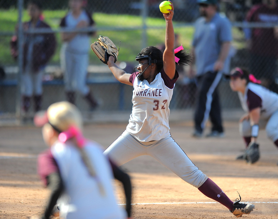 . TORRANCE - 04/03/2013  (Photo: Scott Varley, Los Angeles Newspaper Group)  South vs Torrance softball in a Pioneer League matchup. Christina Washington pitches in relief for Torrance.