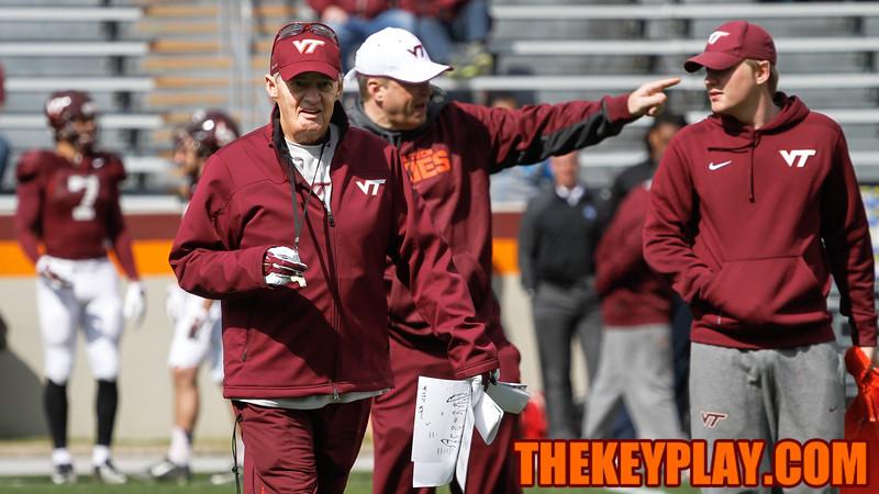 Head coach Frank Beamer walks through position drills before the scrmmage. (Mark Umansky/TheKeyPlay.com